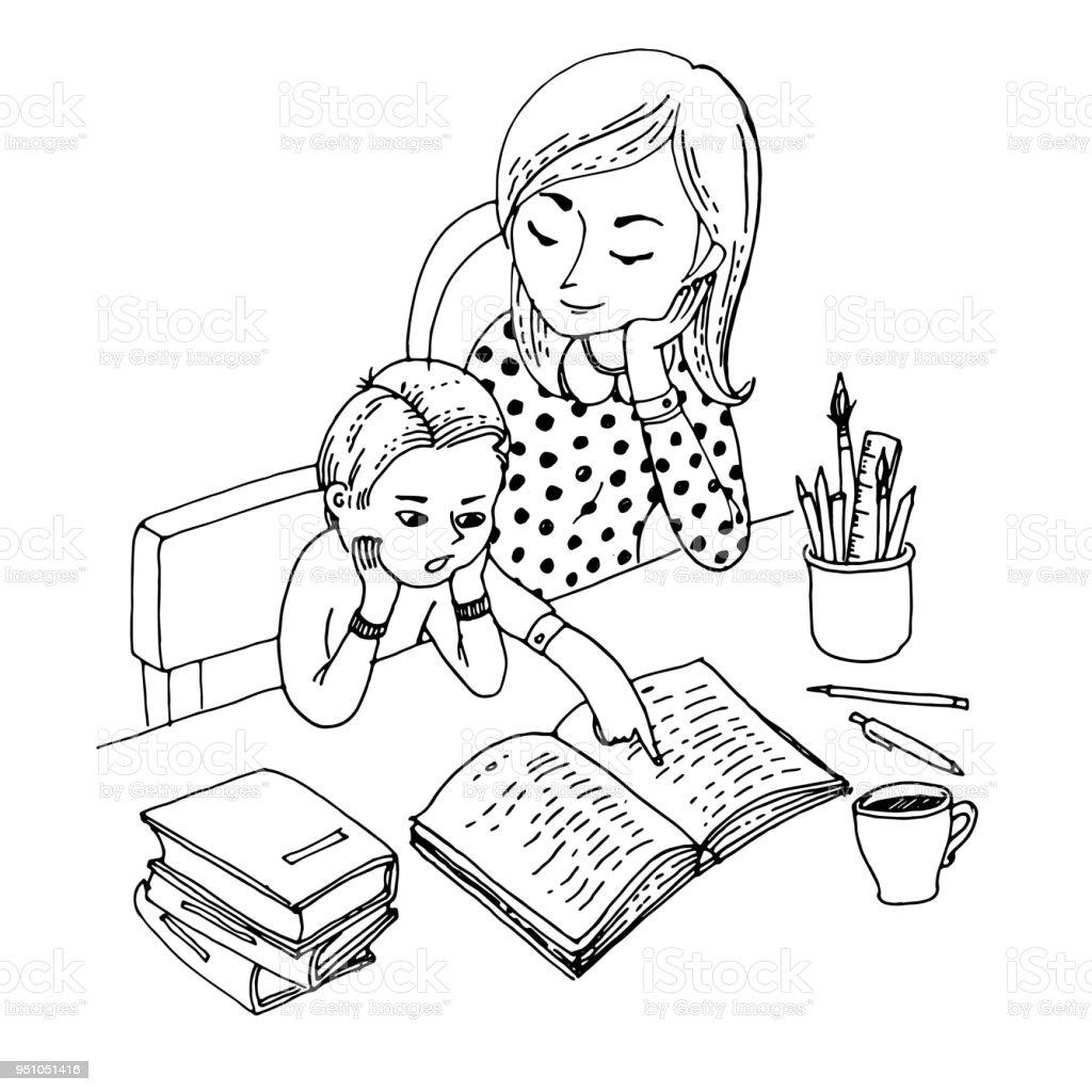 Siyah Ve Beyaz Vektör çizim Boyama Kitabı Için Küçük Oğlu