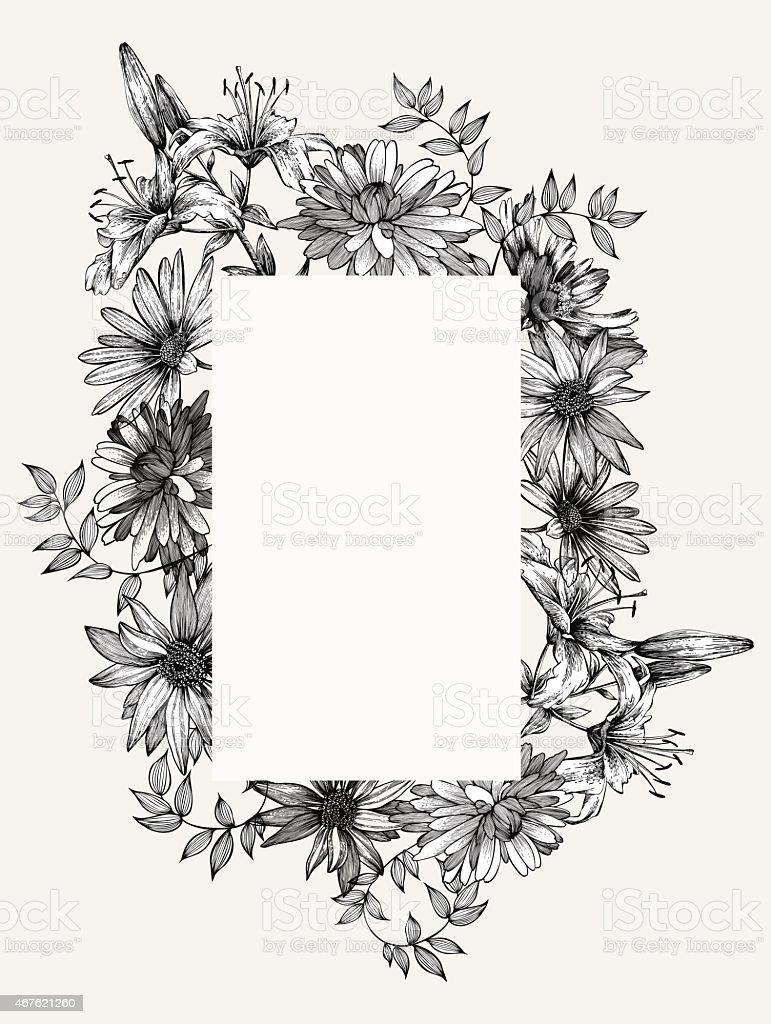 Cornici Disegno Bianco E Nero.Bianco E Nero Vettoriale Illustrazione Cornice Con Fiori