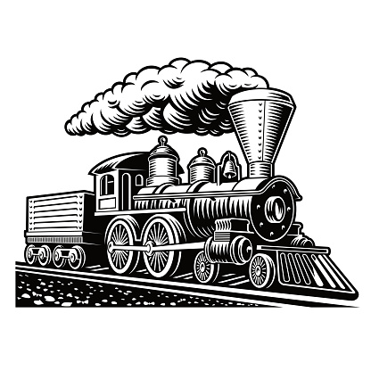 A black and white vector illustration of a retro train
