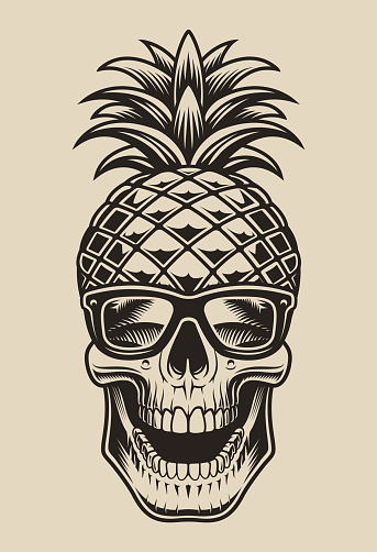 Black and white vector illustration of a skull in the form of pineapple.