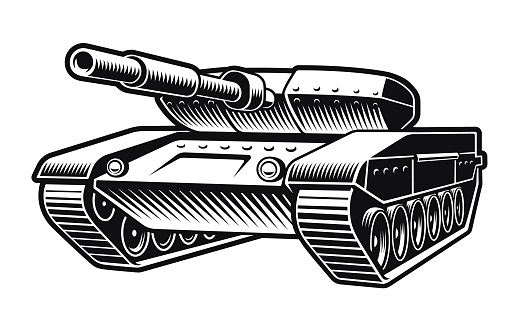 black and white vector illustration of a tank