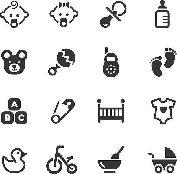 schwarz und weiß, vektor-illustration von baby symbole - möbelfüße stock-grafiken, -clipart, -cartoons und -symbole