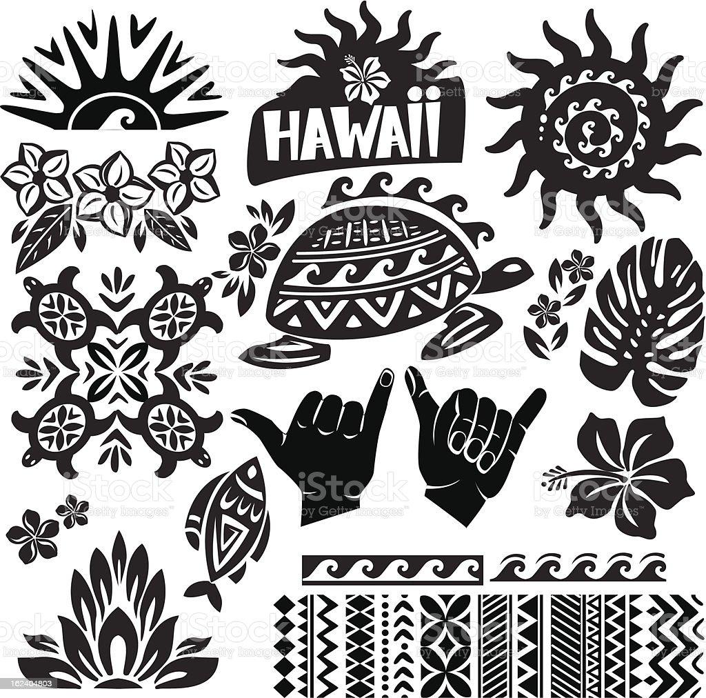 Black and white vector illustration of Hawaii vector art illustration