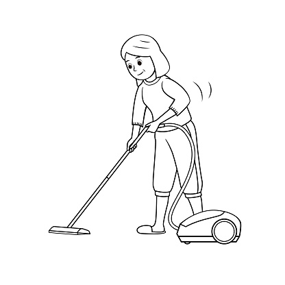 Black and white vector illustration of kids activity coloring book pages with pictures of woman doing housework by vacuum.