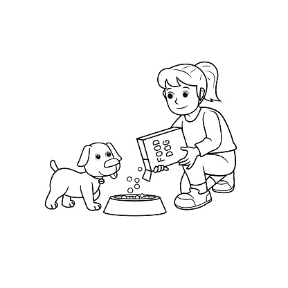 Black and white vector illustration of kids activity coloring book page with pictures of woman doing feeding a dog.