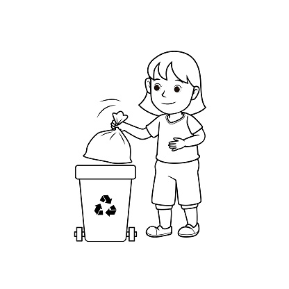 Black and white vector illustration of kids activity coloring book page with pictures of kid doing housework by throw away rubbish.