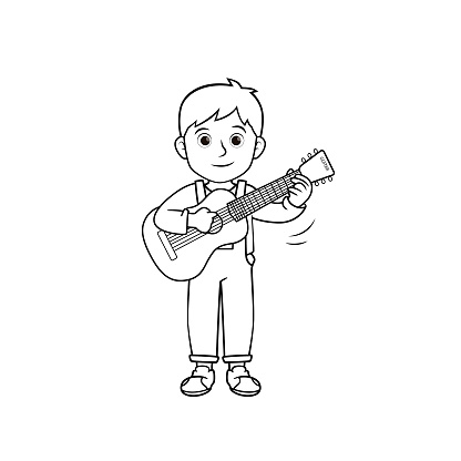 Black and white vector illustration of kids activity coloring book page with pictures of kid doing by play guitar.