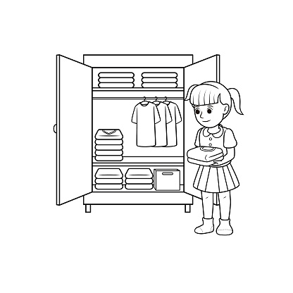 Black and white vector illustration of kids activity coloring book page with pictures of woman doing keeping cloth.
