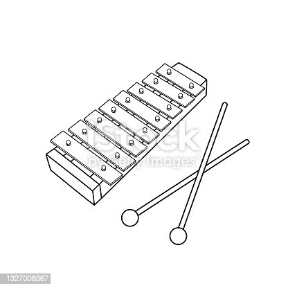 istock Black and white vector illustration of kids alphabet coloring book page with outlined clip art to color toys xylophone 1327008367