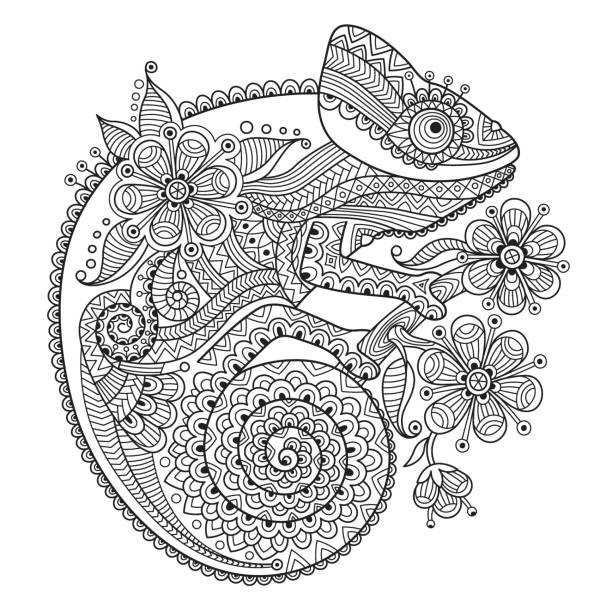 Black and white vector illustration with a chameleon in ethnic vector art illustration