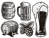 black and white vector illustrations for beer theme isolated on white background