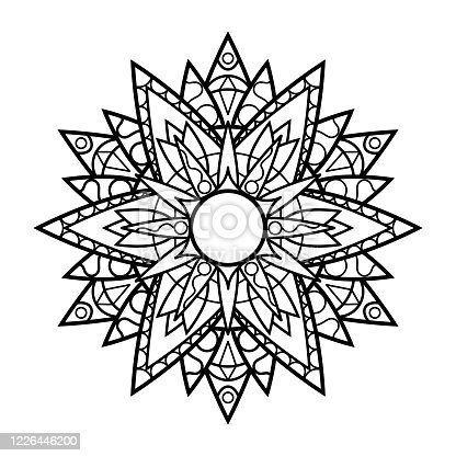 Black and white vector mandala on white background. Relaxing adult coloring page. Oriental mandala ornament isolated. Doily lace round stamp. Meditation hobby coloring pattern. Abstract flower tattoo