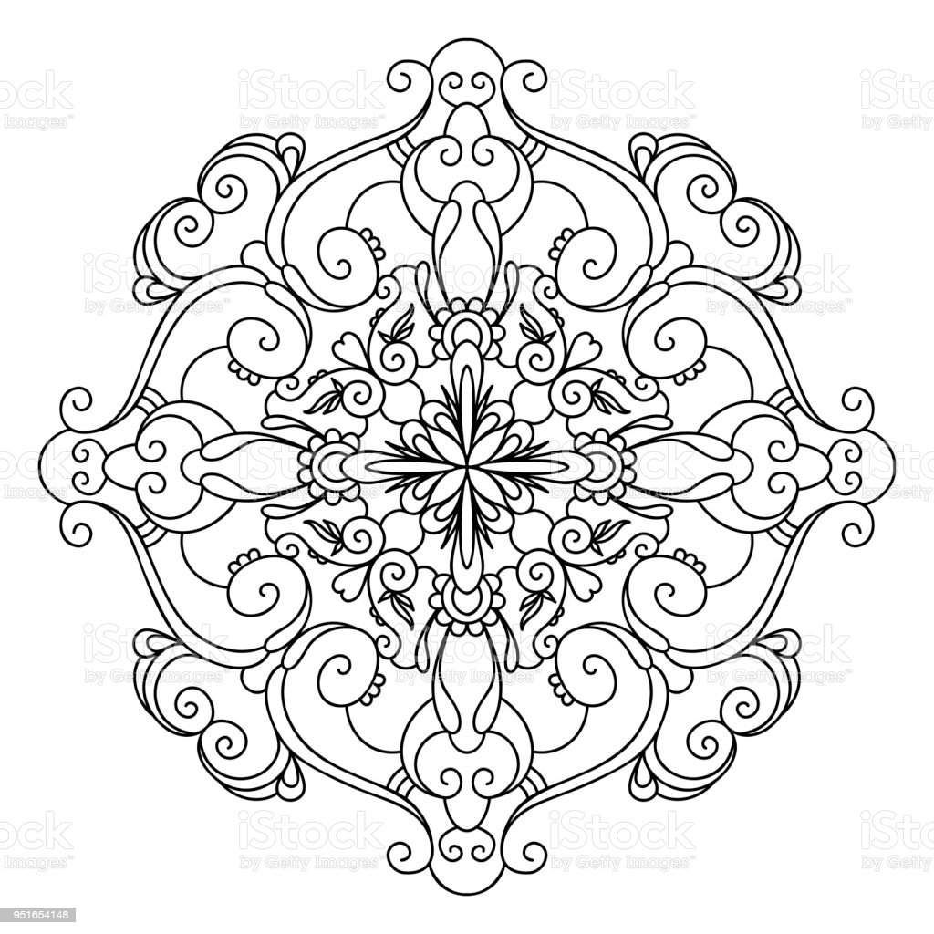 Black And White Vector Mandala Stock Vector Art & More Images of ...