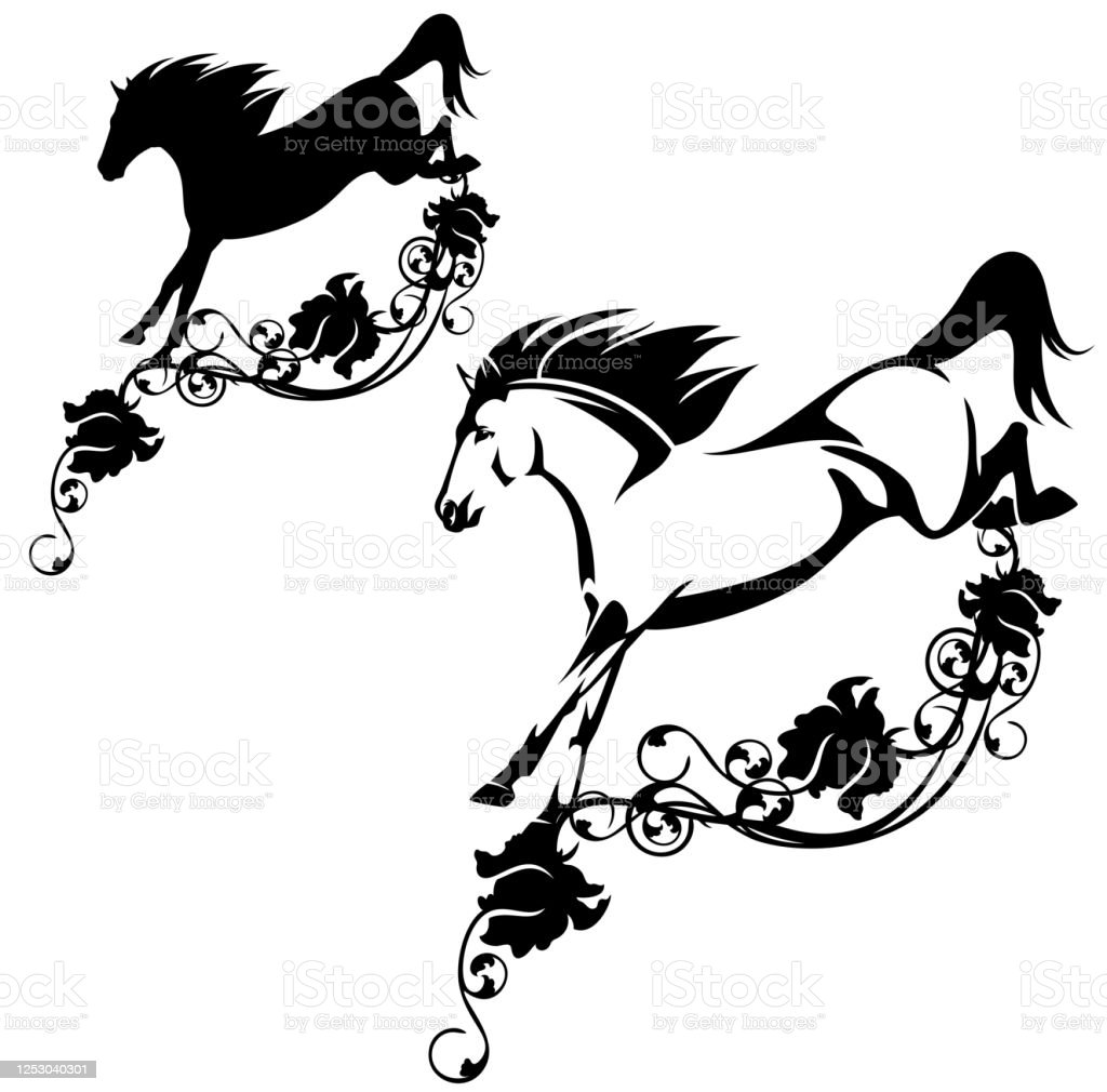 Black And White Vector Outline And Silhouette Of Horse Jumping Over Rose Flower Decor Stock Illustration Download Image Now Istock