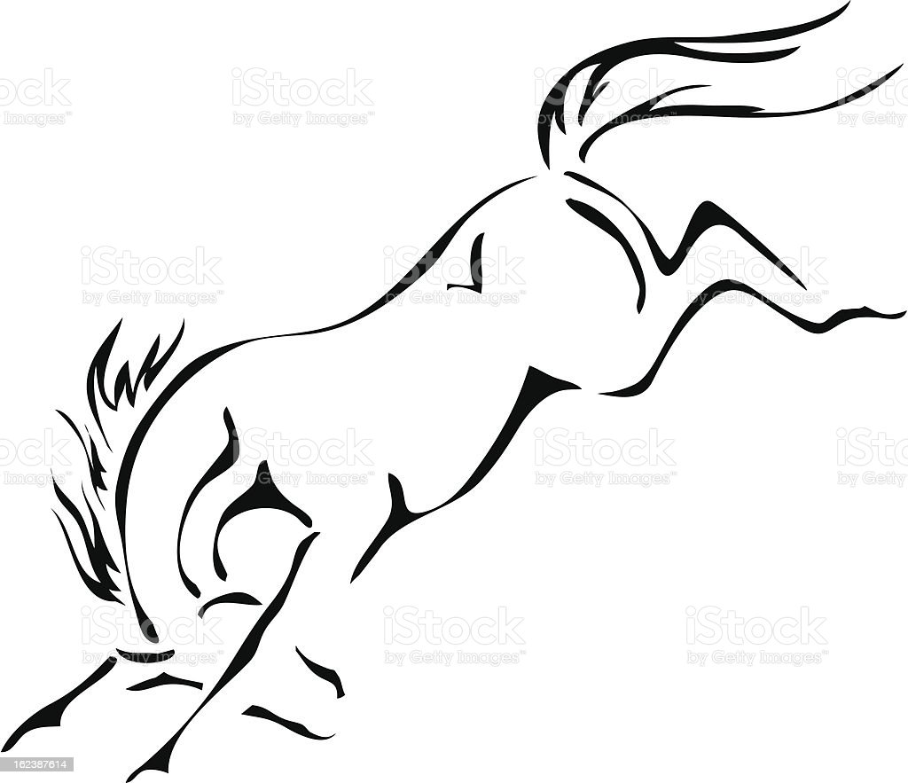 black and white vector outlines of bucking horse vector art illustration
