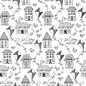 Black and white vector seamless pattern with flying kites. Windy weather.
