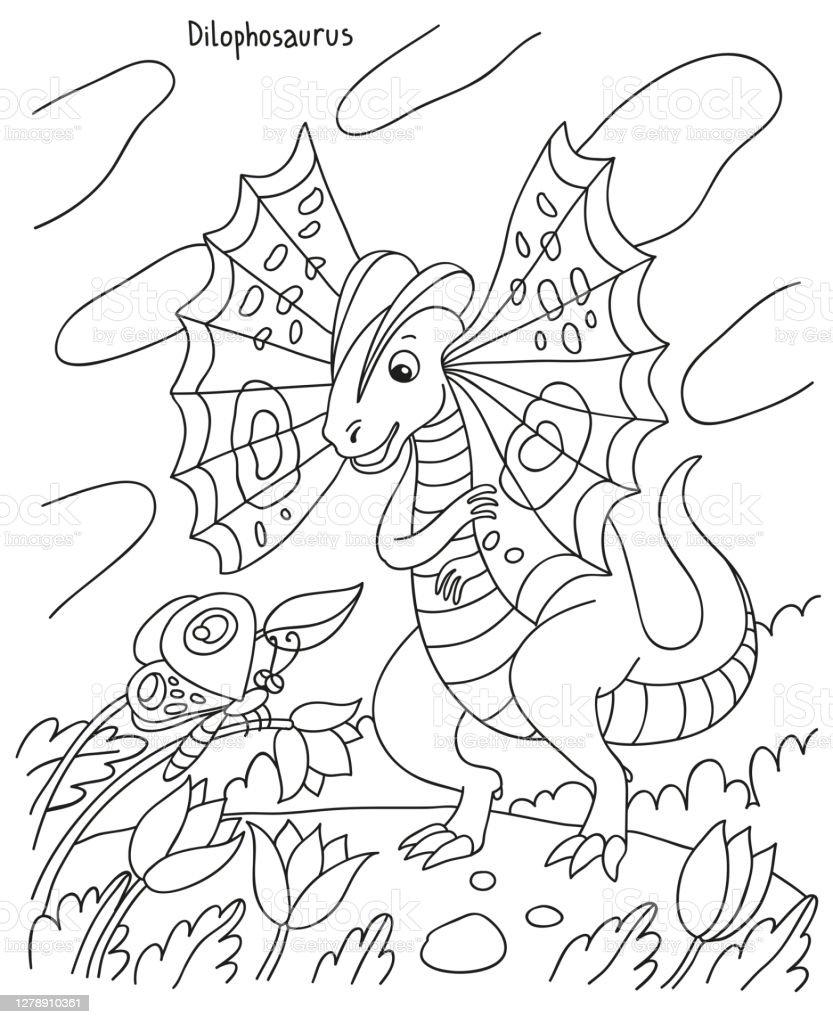 Ilustrasi Sederhana Vektor Hitam Dan Putih Untuk Buku Mewarnai Anakanak Dinosaurus Dilophosaurus Melihat Kupukupu Di Lembah Ilustrasi Stok Unduh Gambar Sekarang Istock