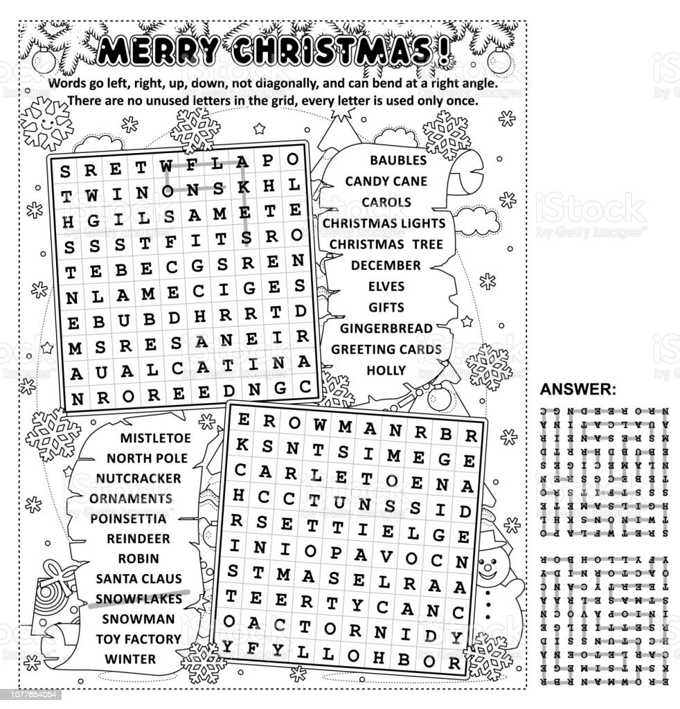 Black And White Version Of Christmas Wordsearch Puzzle Stock