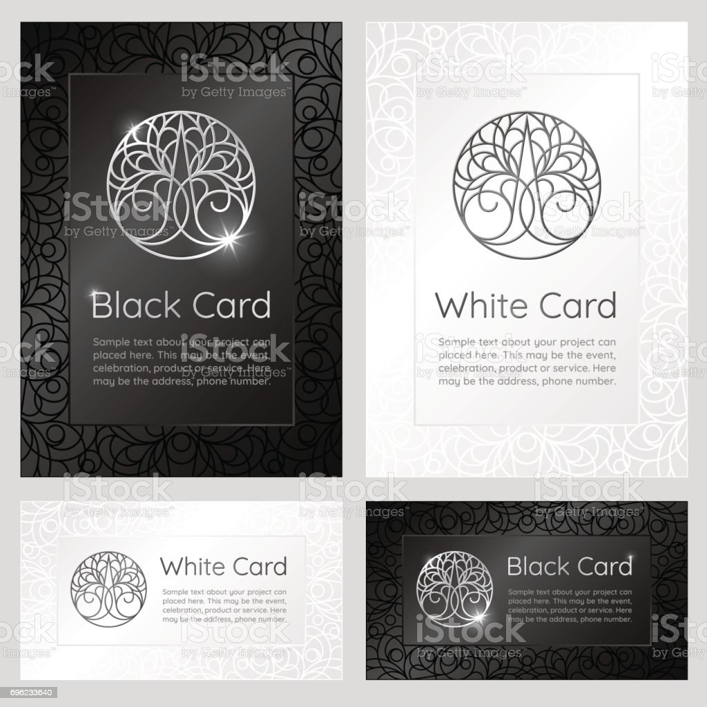 Black and white vintage banners with ornaments, logo and text. vector art illustration