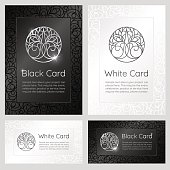 Black and white vintage banners with ornaments, logo and text.