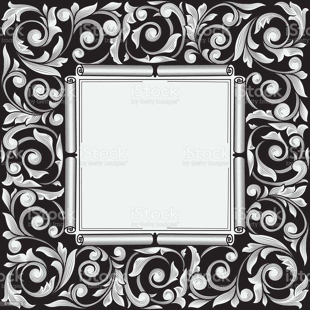 Black And White Vintage Decorative Frame Stock Vector Art & More ...