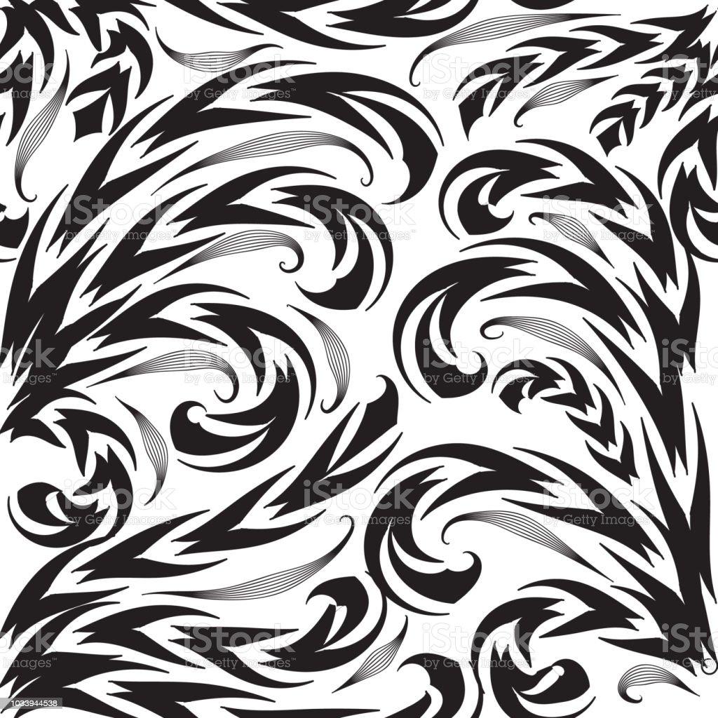 Ilustracion De Blanco Y Negro Patron Transparente De Vector Floral