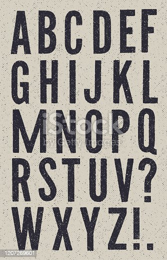 Vector sans serif vintage alphabet with halftone texture on a grey textured background