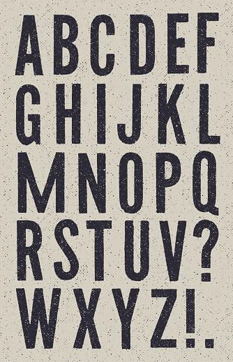 Black and White vintage newspaper alphabet