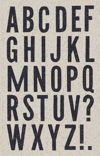 ilustraciones, imágenes clip art, dibujos animados e iconos de stock de alfabeto de periódico vintage en blanco y negro - font
