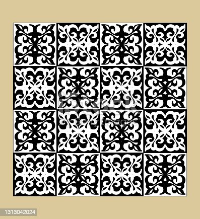 istock Black and white vintage pattern, fine geometric motifs, checkerboard design, inverted colors, tileable ornament 1313042024