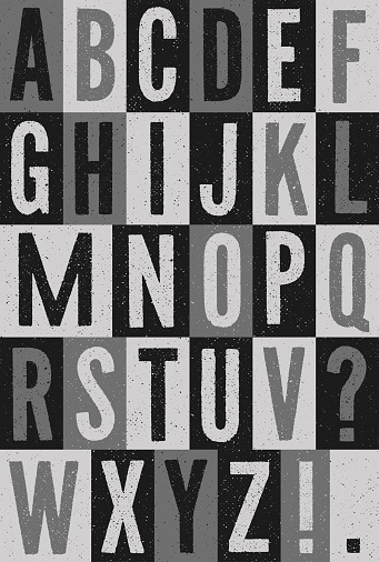 Black and white vector file of vintage print textured alphabet of capital letters. Layered file for easy editing.