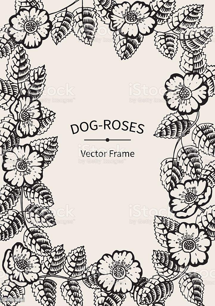 Ilustración de Blanco Y Negro Vintage Vector Marco Perro De Rosas y ...