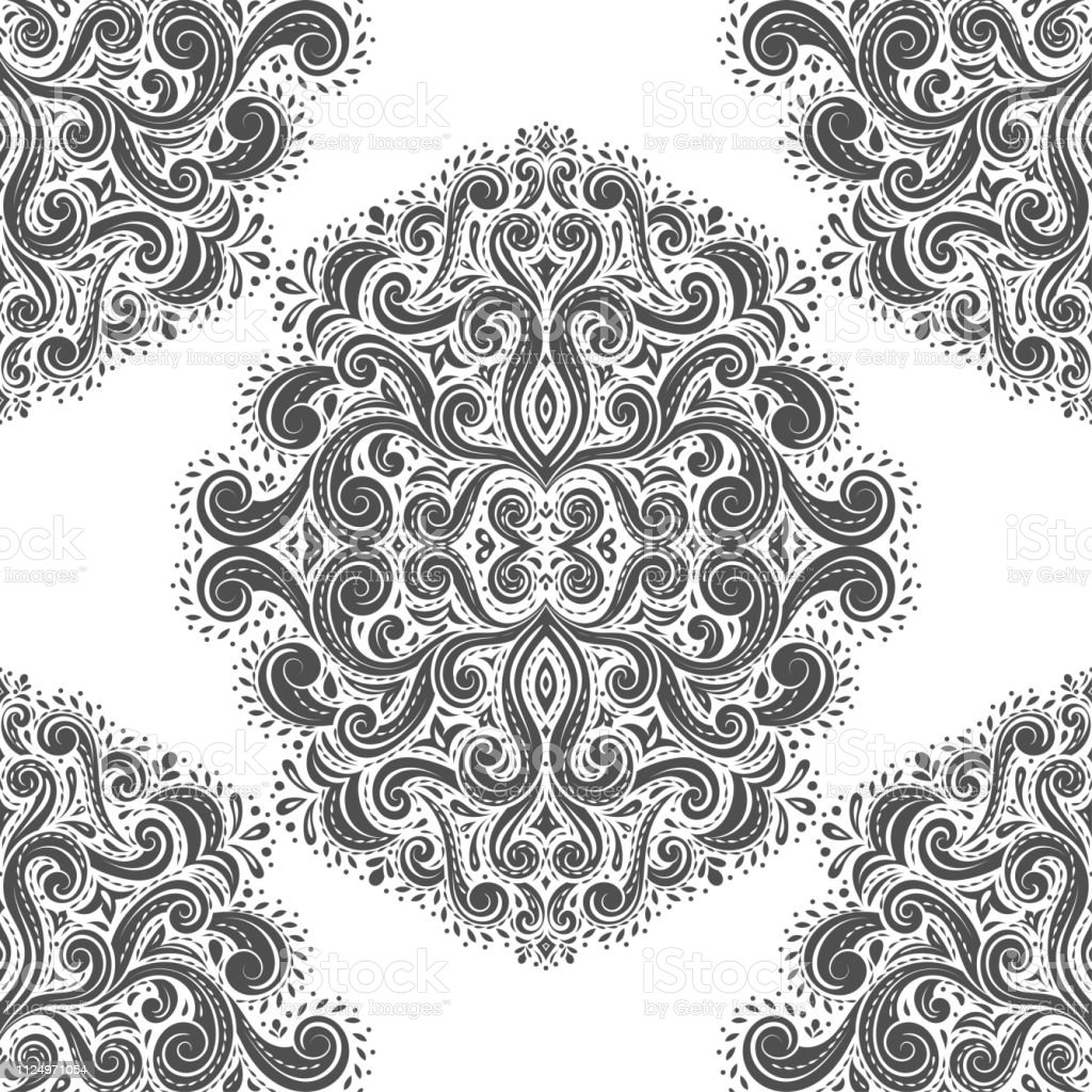 Black And White Vintage Vector Seamless Pattern Wallpaper Elegant