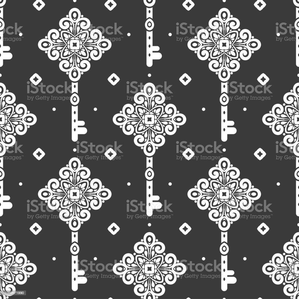 Black And White Vintage Vektor Musterdesign Mit Schlüsseln Tapete