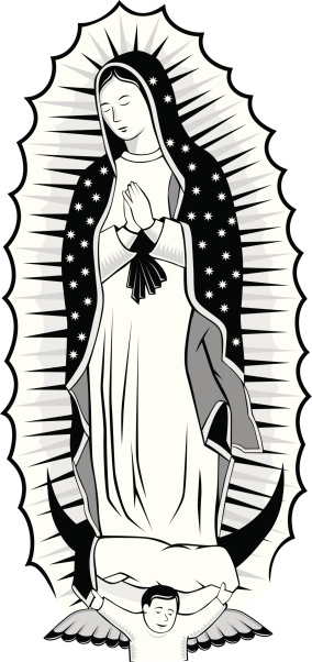 Black and white Virgin of Guadalupe