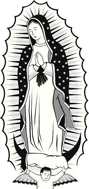 schwarze und weiße jungfrau von guadalupe - jungfrau stock-grafiken, -clipart, -cartoons und -symbole
