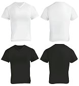 Vector illustration of blank black and white v-neck shirt template, front and back, realistic gradient mesh design, isolated on white