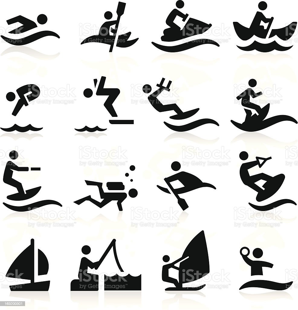 Black and white water sports icons vector art illustration