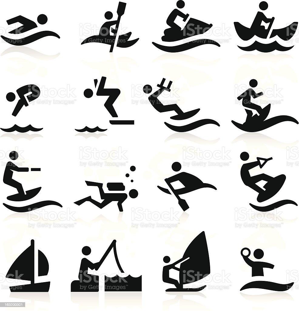 Preto e branco de esportes aquáticos ícones - ilustração de arte em vetor