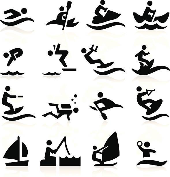 Black und white water sports Symbole – Vektorgrafik