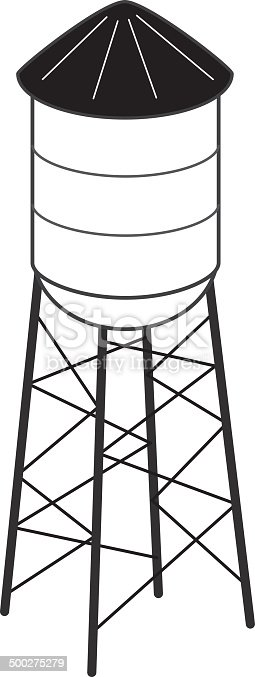 Vector illustration of a black and white water tower.