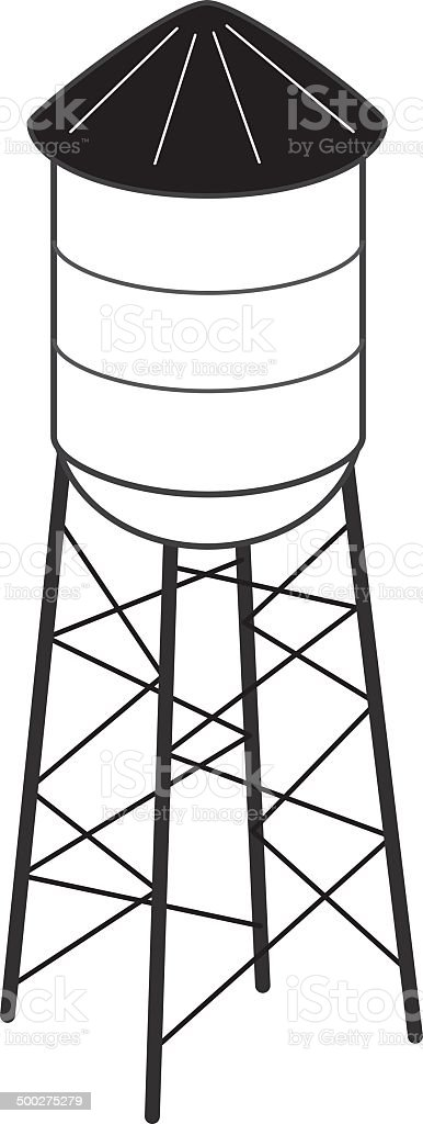 Black And White Water Tower vector art illustration