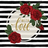 black and white watercolor striped background with Hand drawn lettering with love