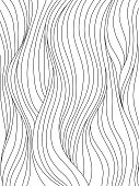 Black and white smooth waves. Abstract background with curly hair, or flow pattern for coloring book, or graphic design. Vector illustration.
