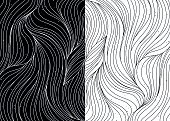 Black and white wave patterns vector