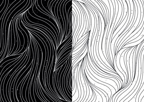 Black and white wave patterns vector Black and white wave patterns. Textured abstract backgrounds. Vector illustration. natural pattern stock illustrations