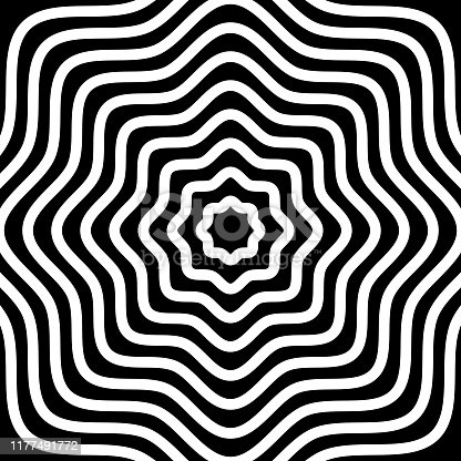Vector illustration of a black and white psychedelic waves background.
