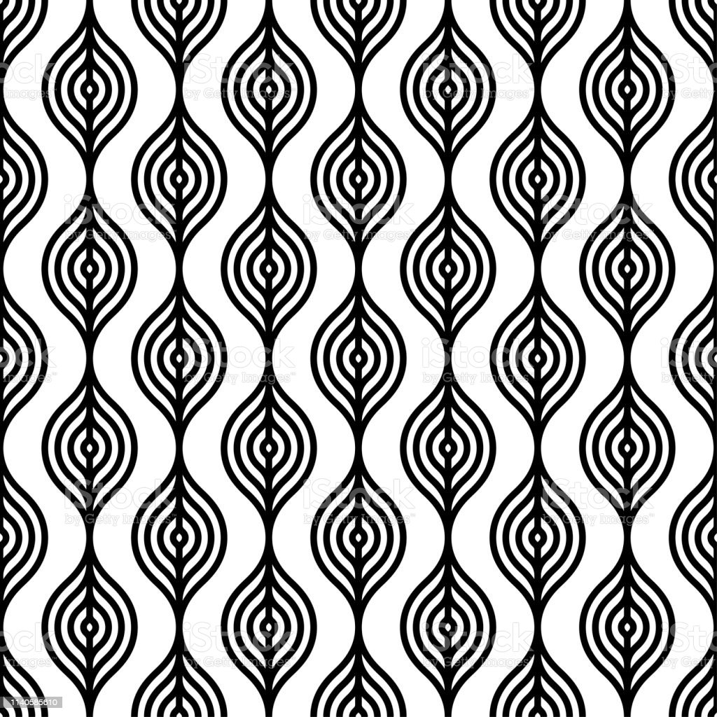 Black and white wavy lines pattern/ Seamless repeat elements...