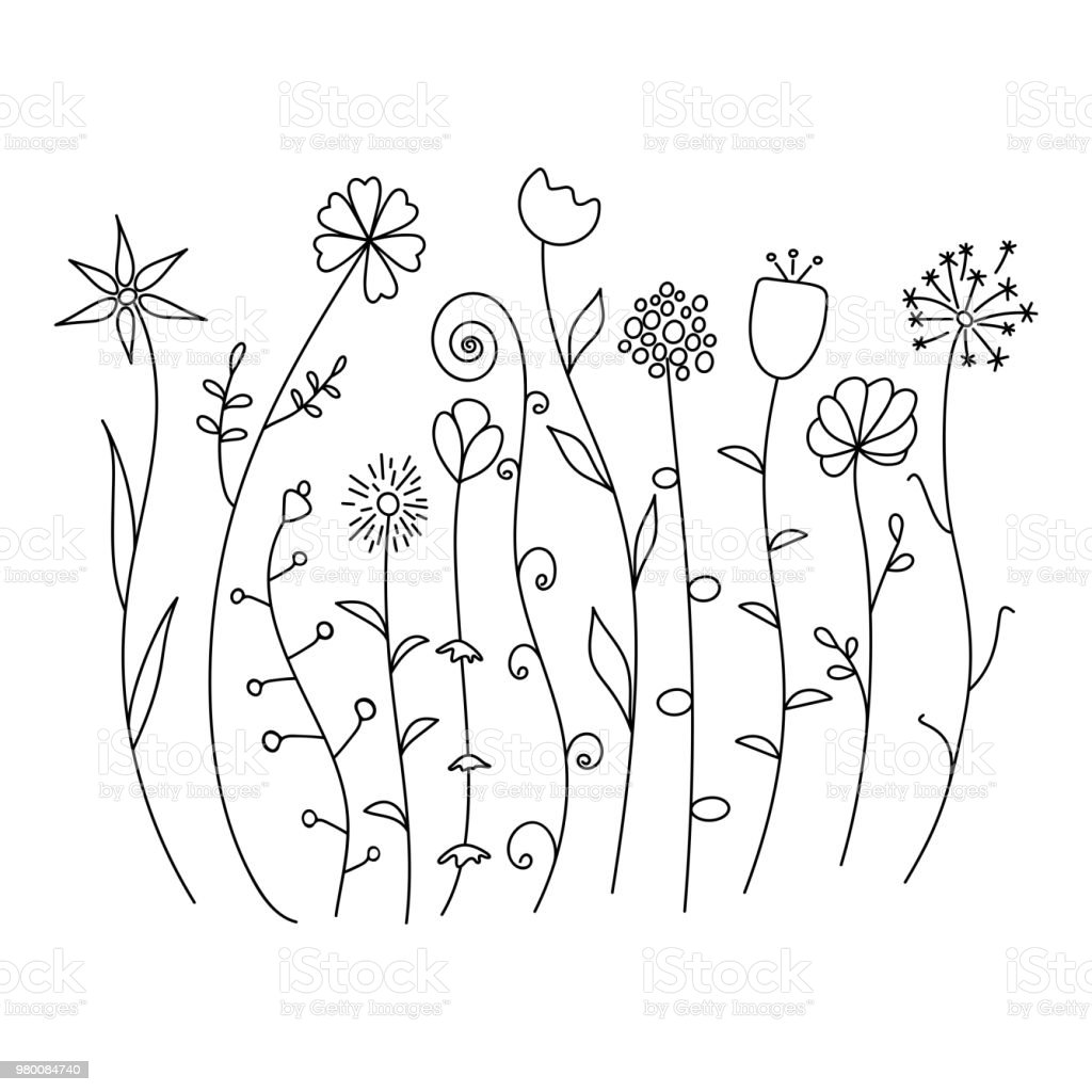 Black And White Wild Flowers Simple Sketch Set Stock