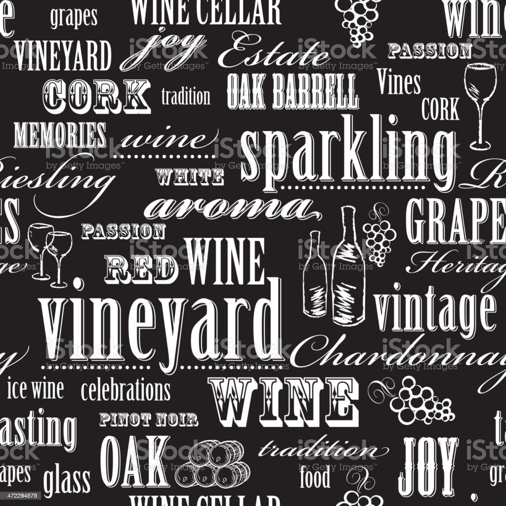 Black and white Wine themed seamless repeating word pattern vector art illustration